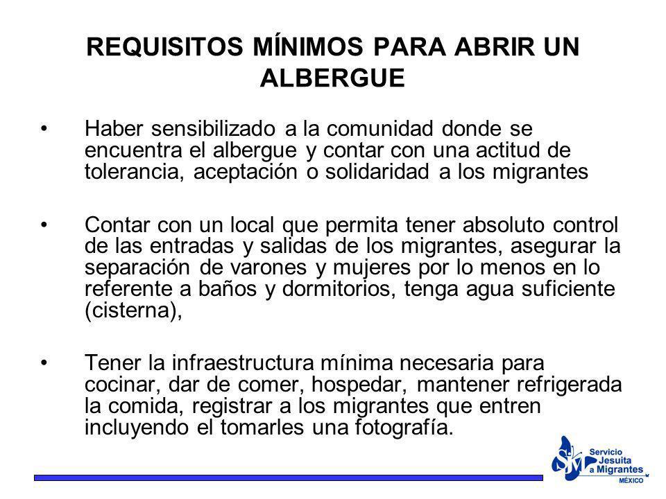 Haber sensibilizado a la comunidad donde se encuentra el albergue y contar con una actitud de tolerancia, aceptación o solidaridad a los migrantes Con
