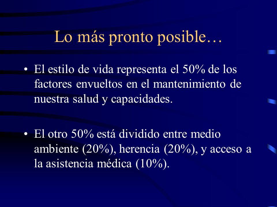 Lo más pronto posible… El estilo de vida representa el 50% de los factores envueltos en el mantenimiento de nuestra salud y capacidades.