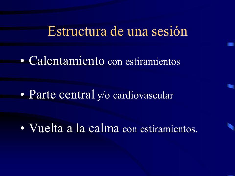 Estructura de una sesión Calentamiento con estiramientos Parte central y/o cardiovascular Vuelta a la calma con estiramientos.
