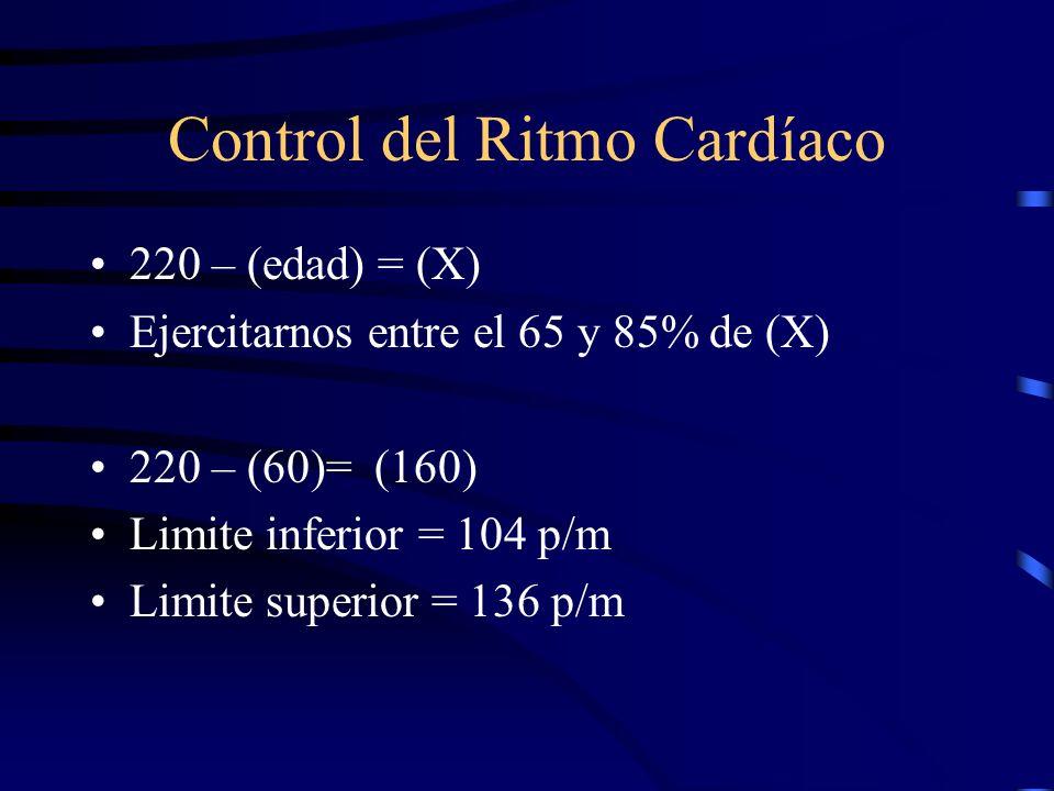 Control del Ritmo Cardíaco 220 – (edad) = (X) Ejercitarnos entre el 65 y 85% de (X) 220 – (60)= (160) Limite inferior = 104 p/m Limite superior = 136 p/m