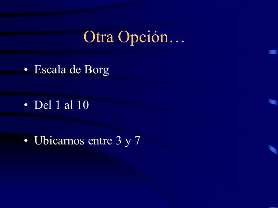 Otra Opción… Escala de Borg Del 1 al 10 Ubicarnos entre 3 y 7