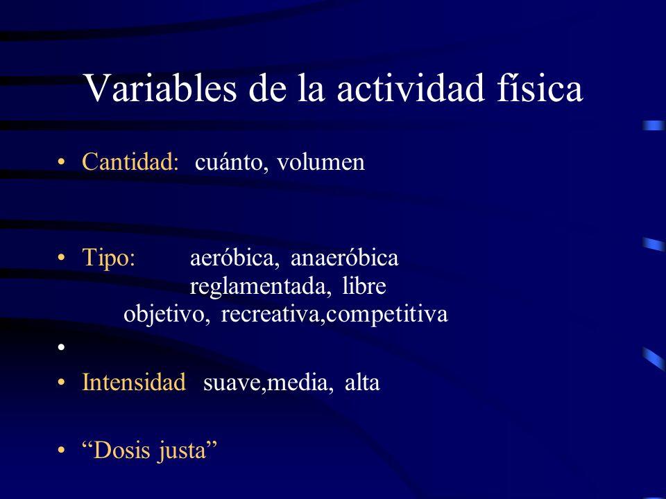 Variables de la actividad física Cantidad: cuánto, volumen Tipo: aeróbica, anaeróbica reglamentada, libre objetivo, recreativa,competitiva Intensidad: suave,media, alta Dosis justa