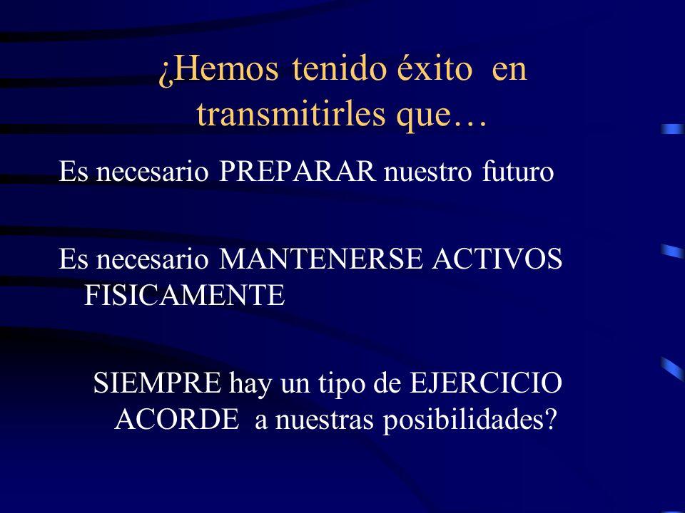 ¿Hemos tenido éxito en transmitirles que… Es necesario PREPARAR nuestro futuro Es necesario MANTENERSE ACTIVOS FISICAMENTE SIEMPRE hay un tipo de EJERCICIO ACORDE a nuestras posibilidades