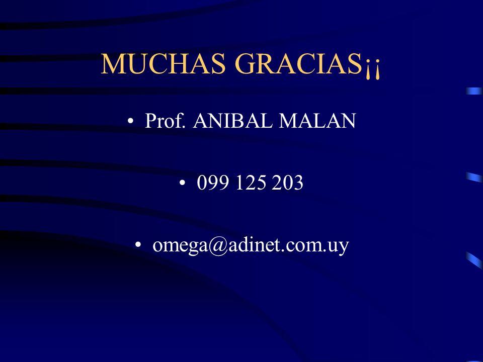 MUCHAS GRACIAS¡¡ Prof. ANIBAL MALAN 099 125 203 omega@adinet.com.uy