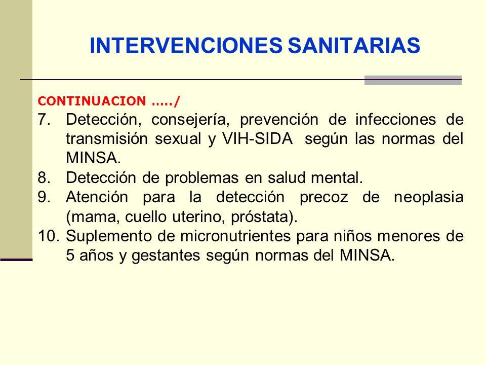 QF. CARLOS REYES BUSTAMANTE Gerencia de Operaciones Profesional de Aseguramiento INTERVENCIONES SANITARIAS CONTINUACION …../ 7. Detección, consejería,