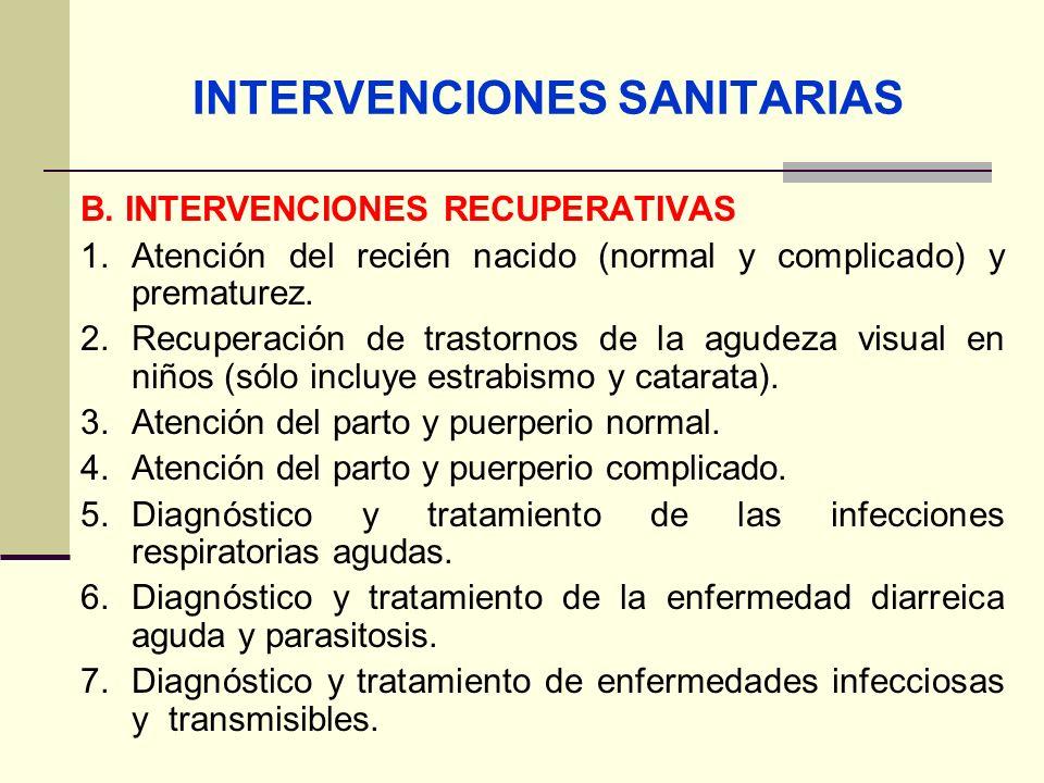 QF. CARLOS REYES BUSTAMANTE Gerencia de Operaciones Profesional de Aseguramiento INTERVENCIONES SANITARIAS B. INTERVENCIONES RECUPERATIVAS 1.Atención