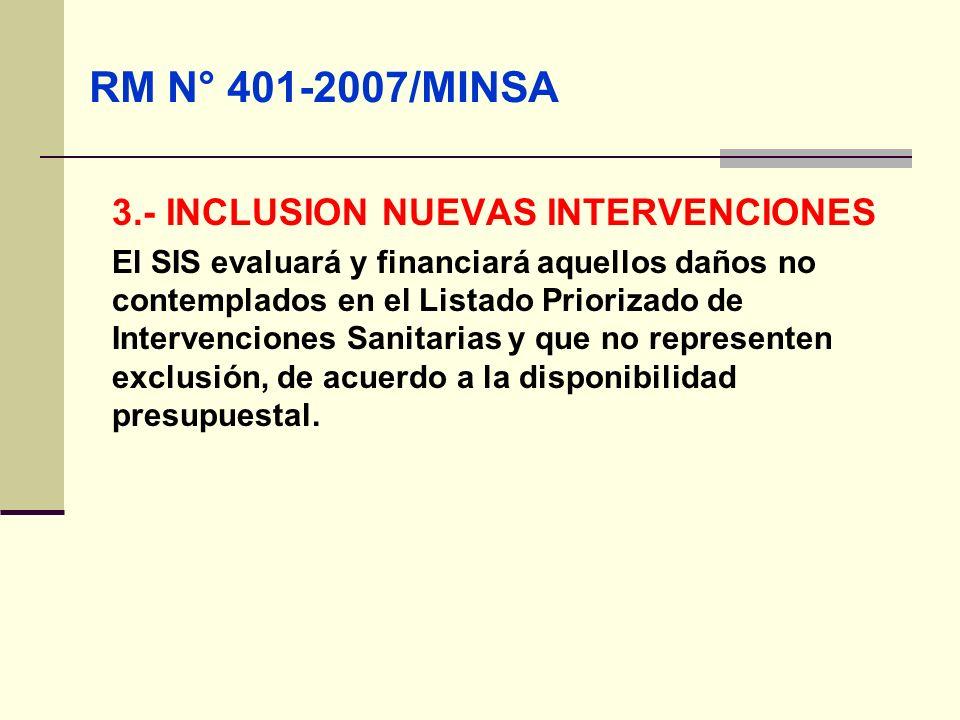 QF. CARLOS REYES BUSTAMANTE Gerencia de Operaciones Profesional de Aseguramiento 3.- INCLUSION NUEVAS INTERVENCIONES El SIS evaluará y financiará aque