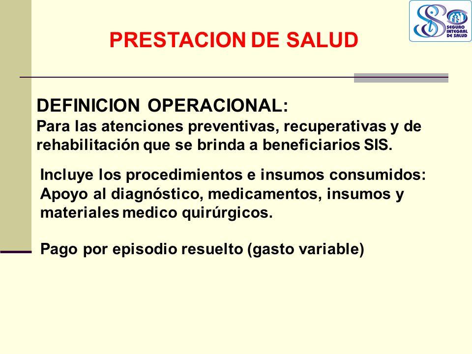 QF. CARLOS REYES BUSTAMANTE Gerencia de Operaciones Profesional de Aseguramiento DEFINICION OPERACIONAL: Para las atenciones preventivas, recuperativa