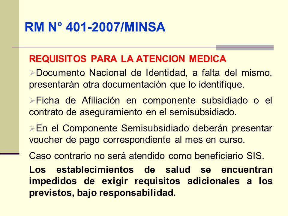 QF. CARLOS REYES BUSTAMANTE Gerencia de Operaciones Profesional de Aseguramiento RM N° 401-2007/MINSA REQUISITOS PARA LA ATENCION MEDICA Documento Nac
