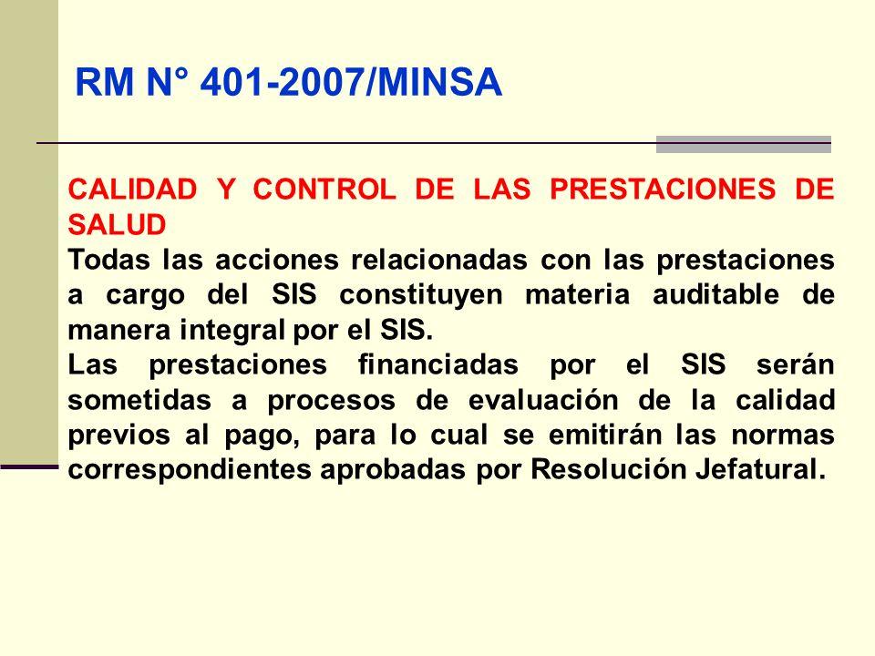 QF. CARLOS REYES BUSTAMANTE Gerencia de Operaciones Profesional de Aseguramiento RM N° 401-2007/MINSA CALIDAD Y CONTROL DE LAS PRESTACIONES DE SALUD T