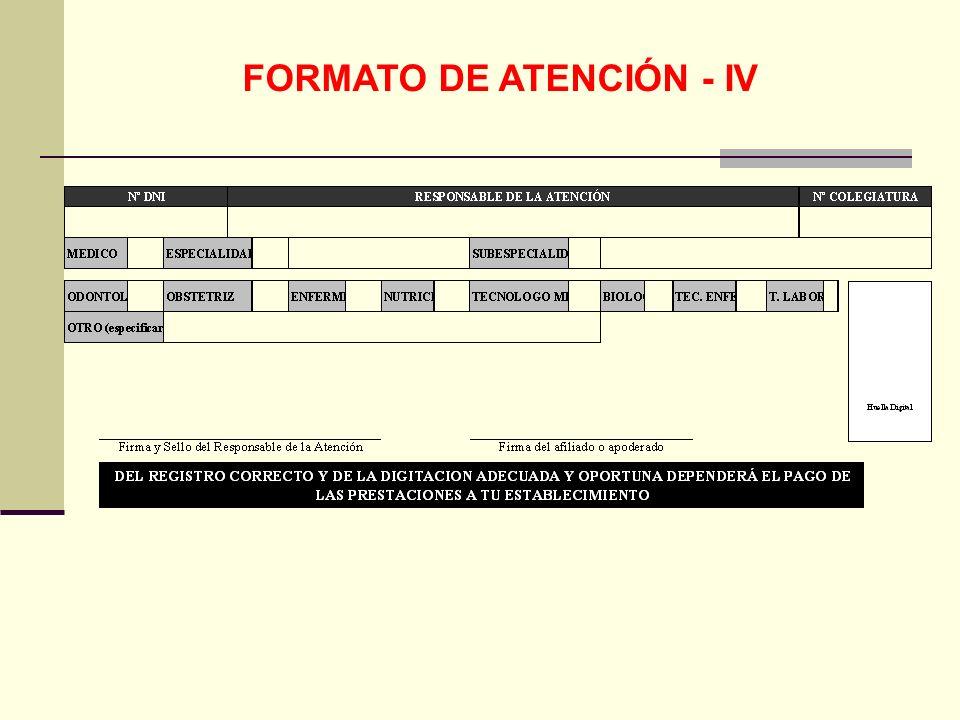 QF. CARLOS REYES BUSTAMANTE Gerencia de Operaciones Profesional de Aseguramiento FORMATO DE ATENCIÓN - IV