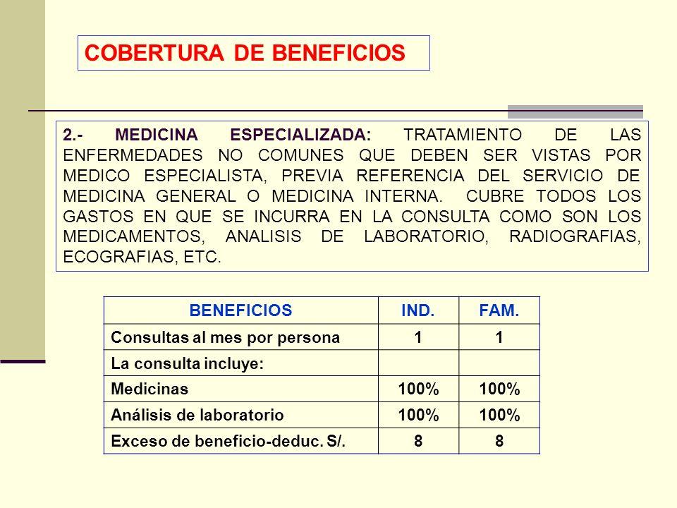 QF. CARLOS REYES BUSTAMANTE Gerencia de Operaciones Profesional de Aseguramiento 2.- MEDICINA ESPECIALIZADA: TRATAMIENTO DE LAS ENFERMEDADES NO COMUNE