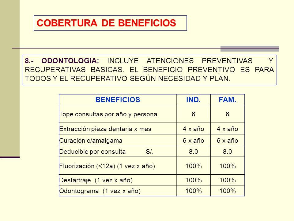 QF. CARLOS REYES BUSTAMANTE Gerencia de Operaciones Profesional de Aseguramiento 8.- ODONTOLOGIA: INCLUYE ATENCIONES PREVENTIVAS Y RECUPERATIVAS BASIC