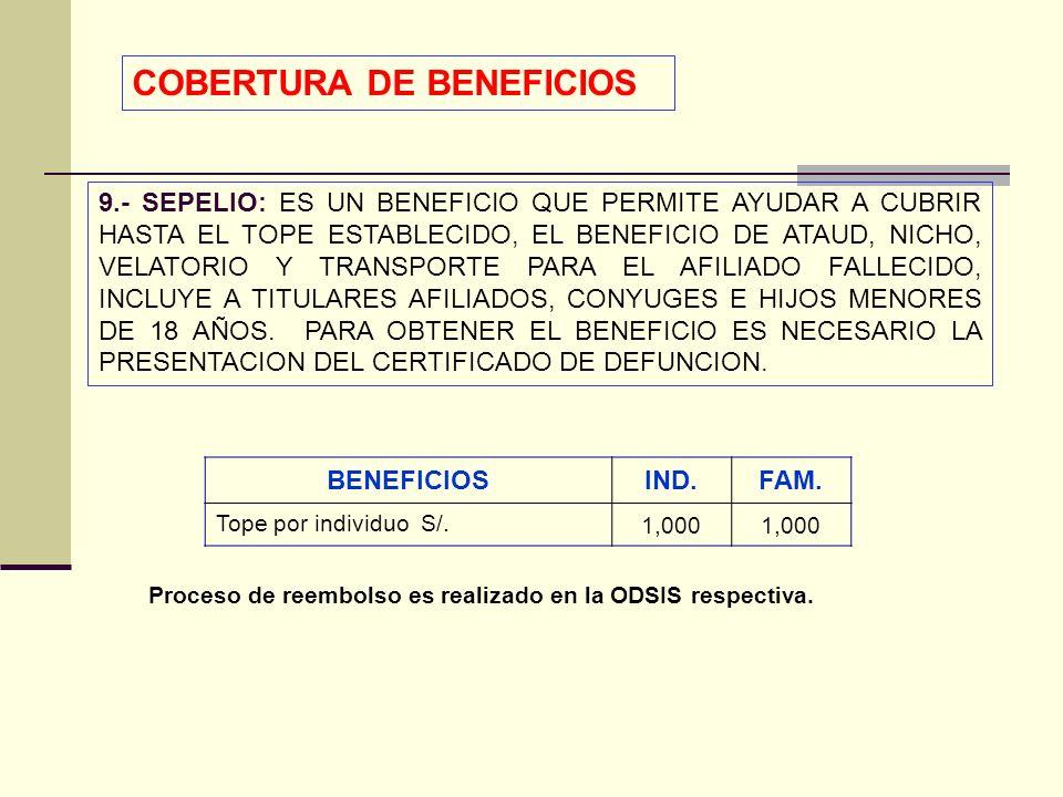 QF. CARLOS REYES BUSTAMANTE Gerencia de Operaciones Profesional de Aseguramiento 9.- SEPELIO: ES UN BENEFICIO QUE PERMITE AYUDAR A CUBRIR HASTA EL TOP