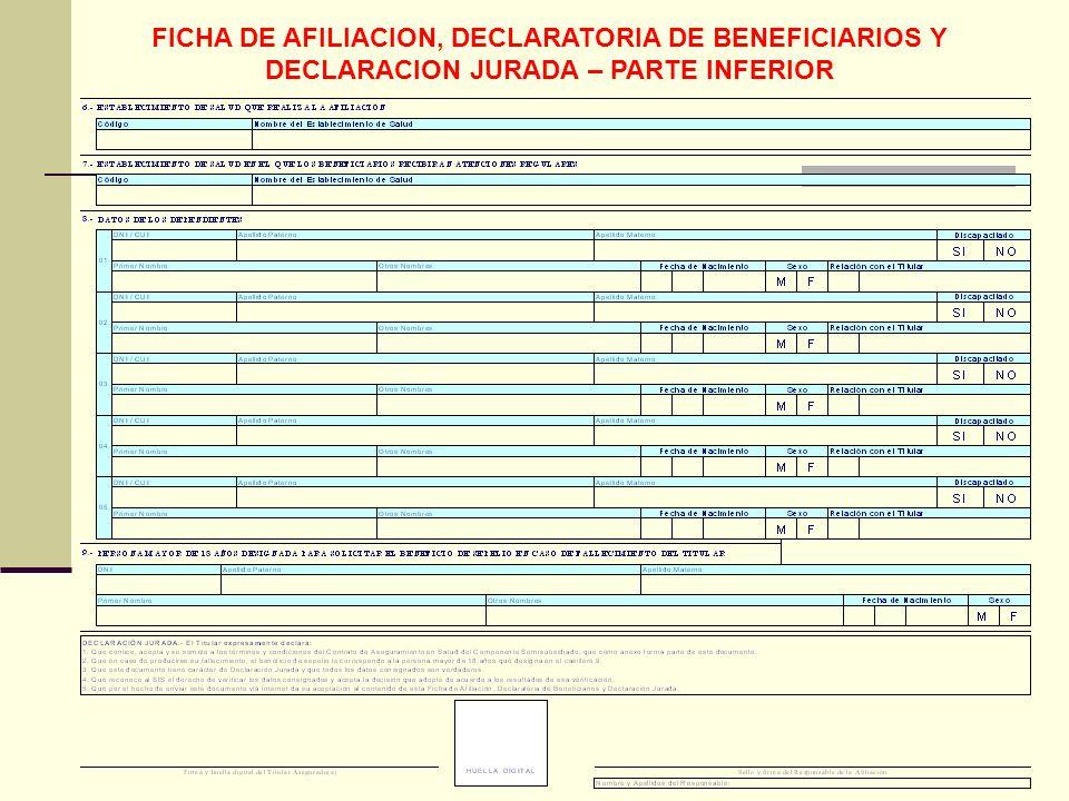 QF. CARLOS REYES BUSTAMANTE Gerencia de Operaciones Profesional de Aseguramiento FICHA DE AFILIACION, DECLARATORIA DE BENEFICIARIOS Y DECLARACION JURA