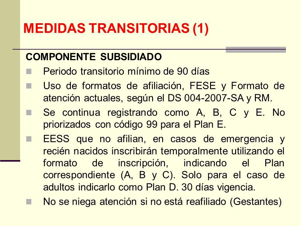 QF. CARLOS REYES BUSTAMANTE Gerencia de Operaciones Profesional de Aseguramiento MEDIDAS TRANSITORIAS (1) COMPONENTE SUBSIDIADO Periodo transitorio mí