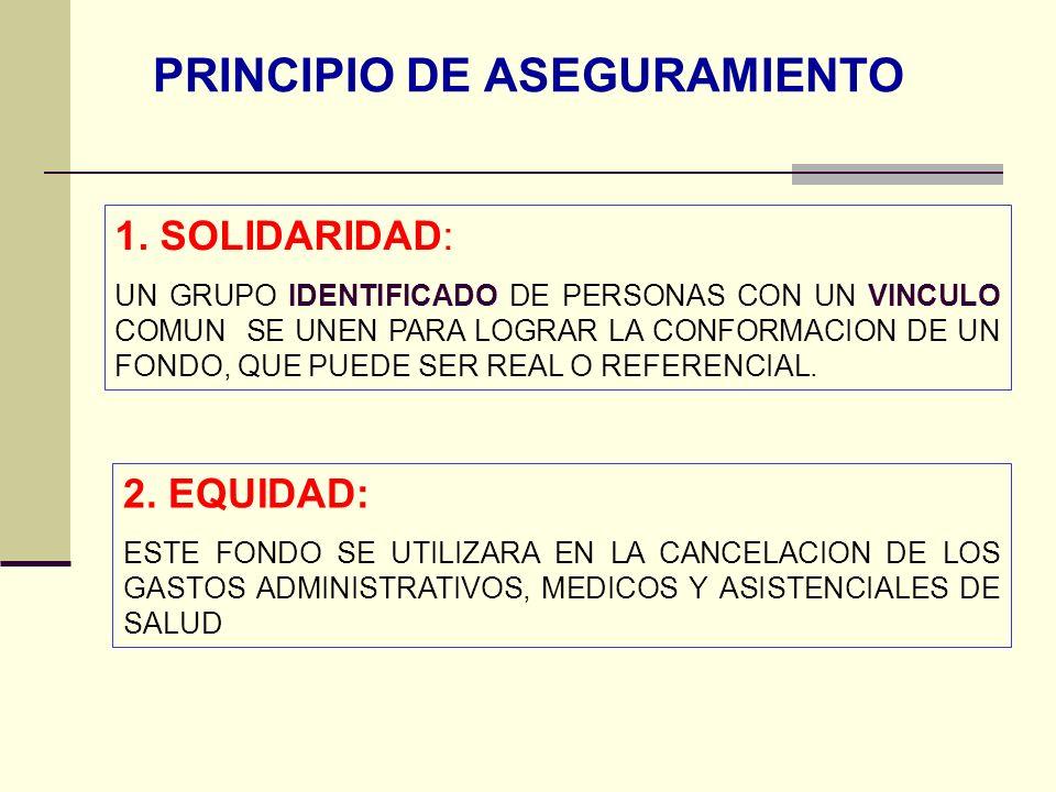 QF. CARLOS REYES BUSTAMANTE Gerencia de Operaciones Profesional de Aseguramiento PRINCIPIO DE ASEGURAMIENTO 1. SOLIDARIDAD: UN GRUPO IDENTIFICADO DE P