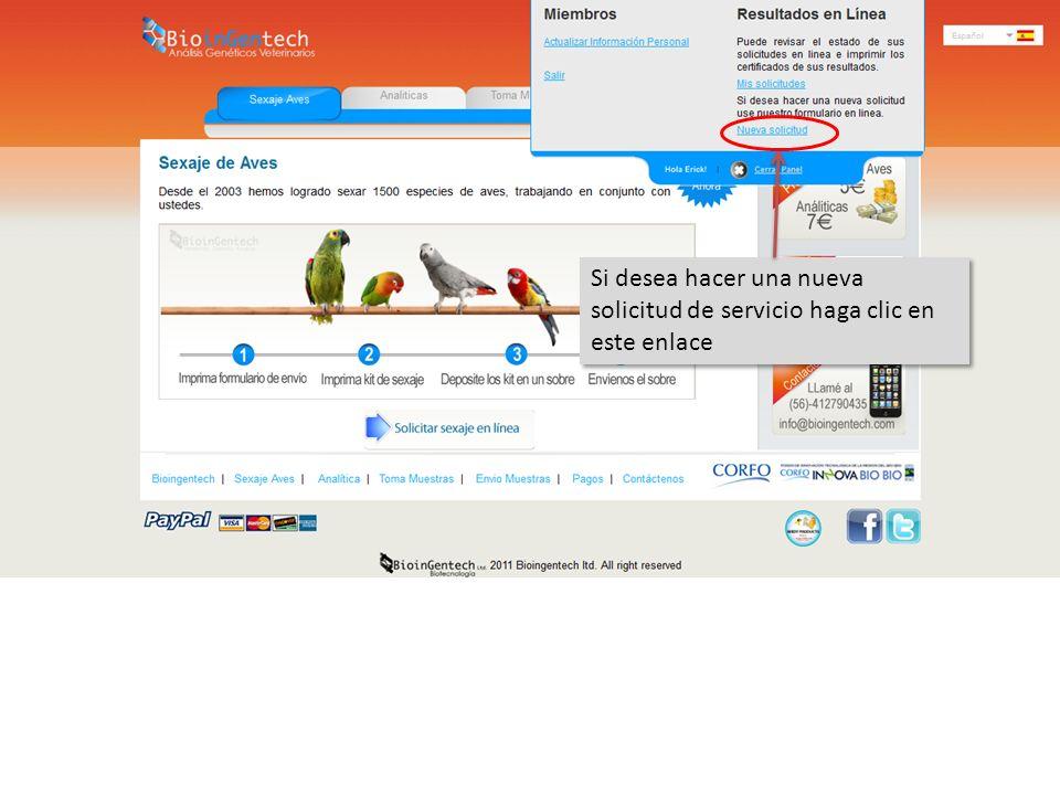 Si desea hacer una nueva solicitud de servicio haga clic en este enlace