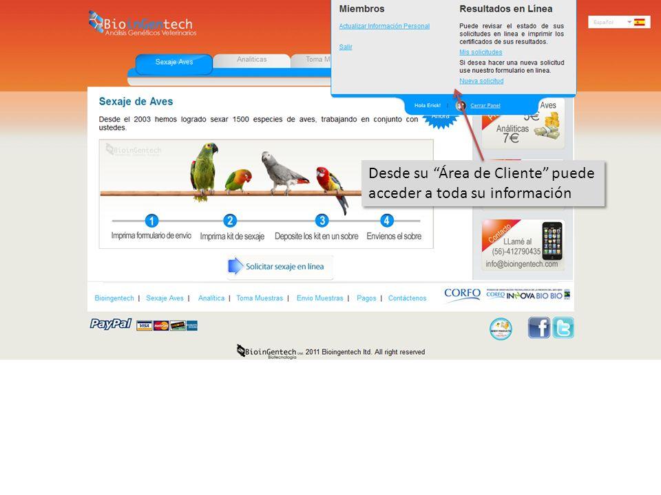 Desde su Área de Cliente puede acceder a toda su información