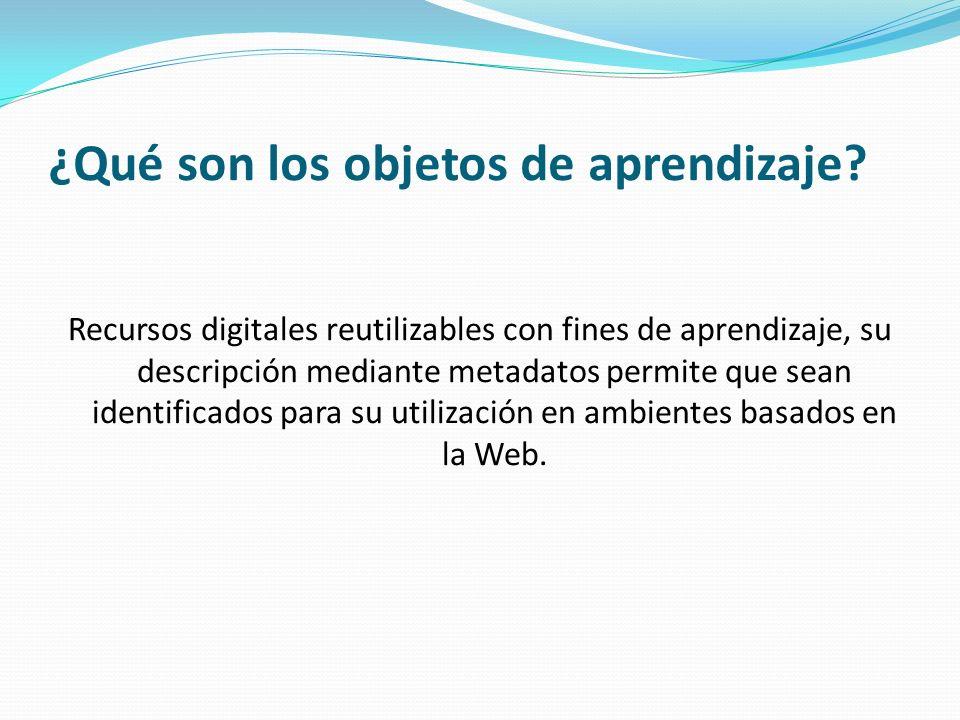 Características de los objetos de aprendizaje Reusabilidad Accesibilidad Interoperabilidad Portabilidad Durabilidad
