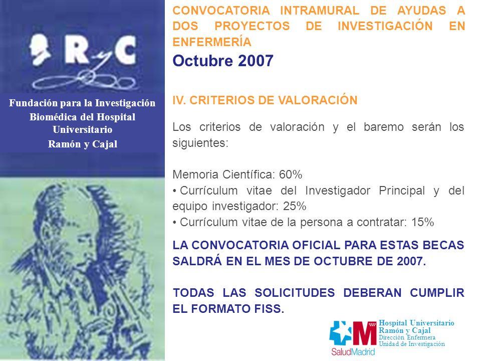 Fundación para la Investigación Biomédica del Hospital Universitario Ramón y Cajal Hospital Universitario Ramón y Cajal Dirección Enfermera Unidad de