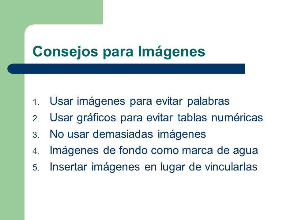 Consejos para Contenidos de Presentaciones Imágenes Multimedia