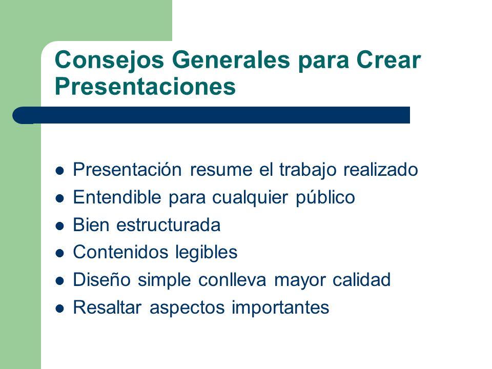 Consejos para Presentaciones Asignatura Informática II Curso 2010 / 2011