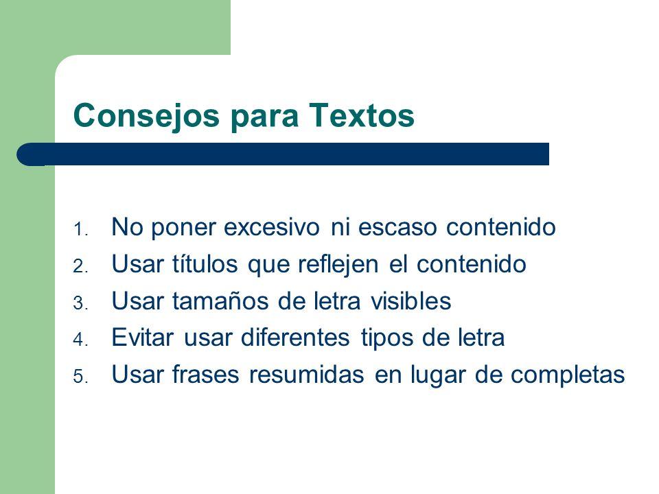 Consejos para Contenidos de Presentaciones Textos Colores