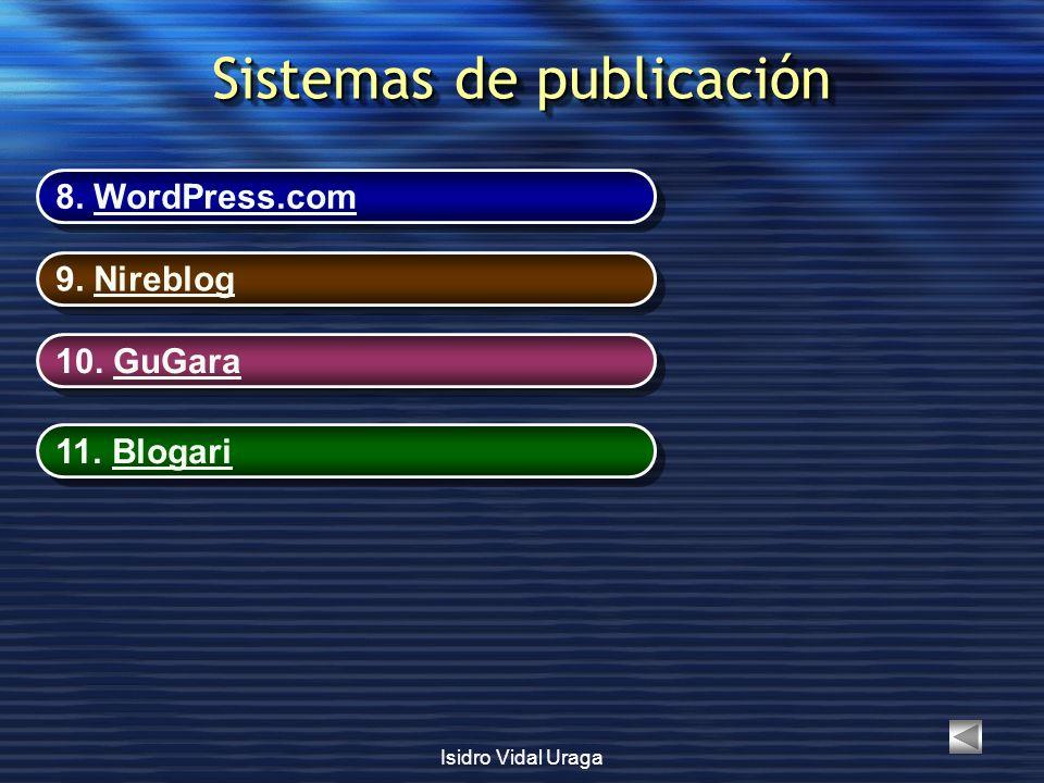 Isidro Vidal Uraga Sistemas de publicación 8. WordPress.comWordPress.com 8. WordPress.comWordPress.com 9. NireblogNireblog 9. NireblogNireblog 10. GuG