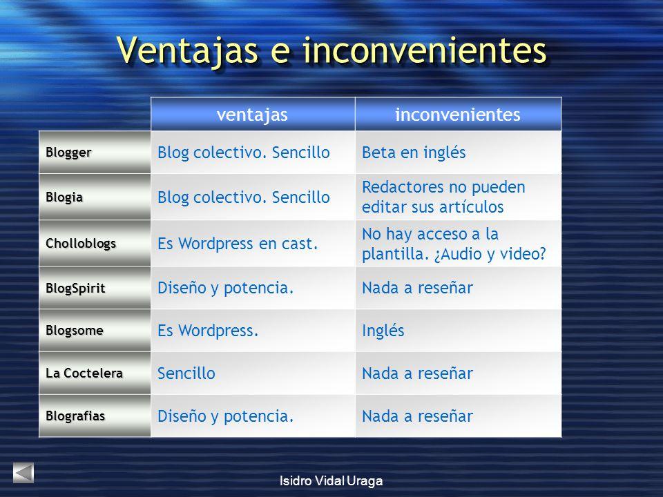 Isidro Vidal Uraga Ventajas e inconvenientes ventajasinconvenientes Blogger Blog colectivo. SencilloBeta en inglés Blogia Blog colectivo. Sencillo Red