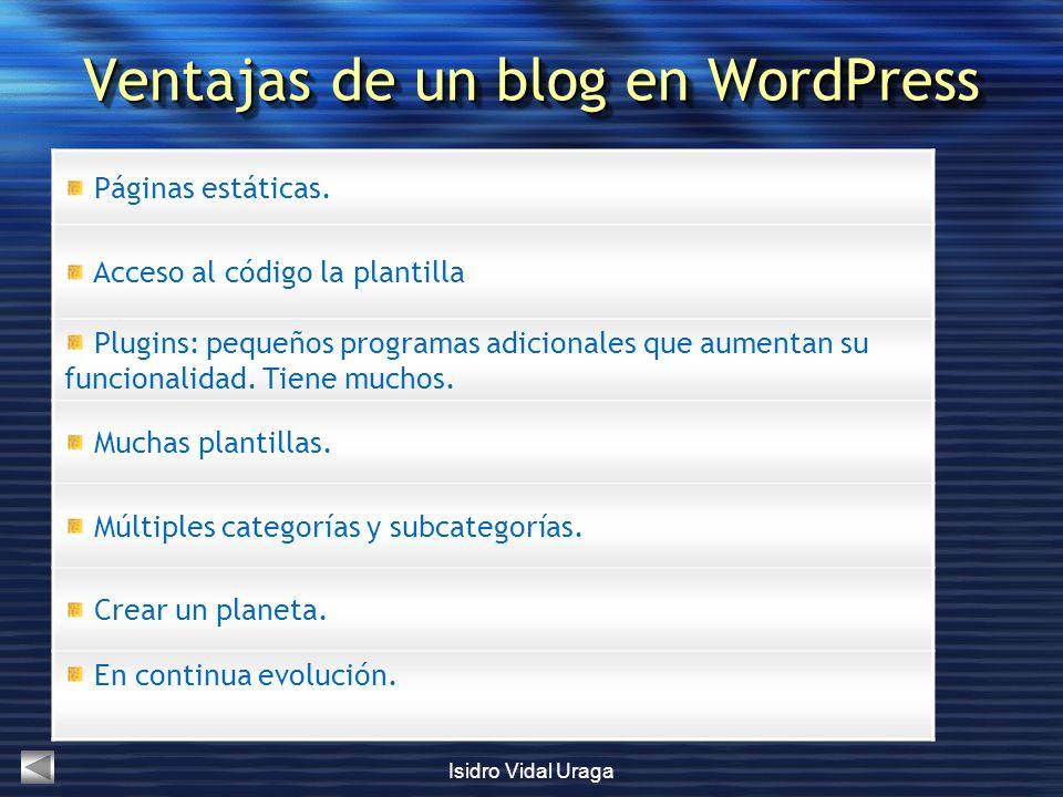 Isidro Vidal Uraga Ventajas de un blog en WordPress Páginas estáticas. Acceso al código la plantilla Plugins: pequeños programas adicionales que aumen