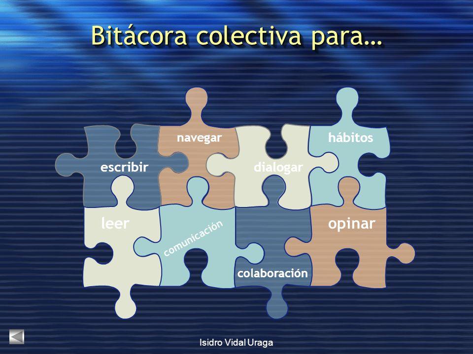 Isidro Vidal Uraga Bitácora colectiva para… navegar comunicación dialogar colaboración hábitos opinar escribir leer