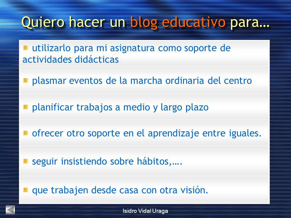 Isidro Vidal Uraga utilizarlo para mi asignatura como soporte de actividades didácticas plasmar eventos de la marcha ordinaria del centro planificar t