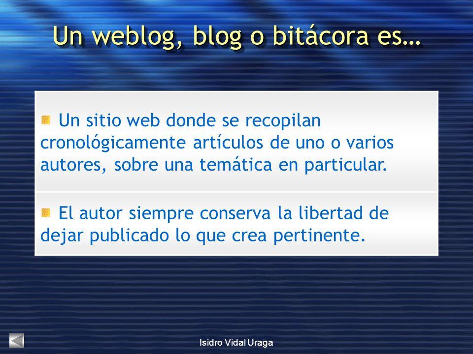 Isidro Vidal Uraga Un sitio web donde se recopilan cronológicamente artículos de uno o varios autores, sobre una temática en particular. El autor siem