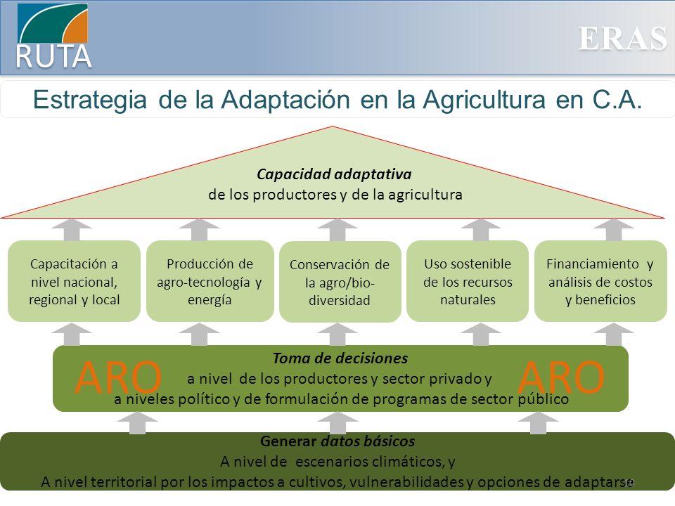 ERAS RUTA Estrategia de la Adaptación en la Agricultura en C.A. Generar datos básicos A nivel de escenarios climáticos, y A nivel territorial por los