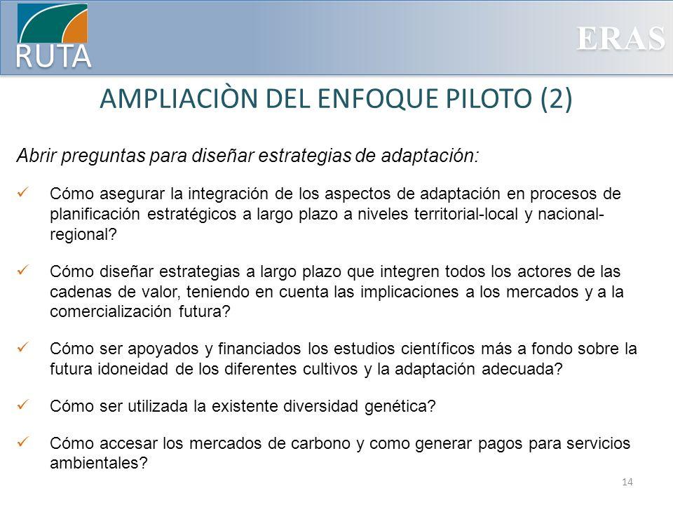 ERAS RUTA AMPLIACIÒN DEL ENFOQUE PILOTO (2) Abrir preguntas para diseñar estrategias de adaptación: Cómo asegurar la integración de los aspectos de ad