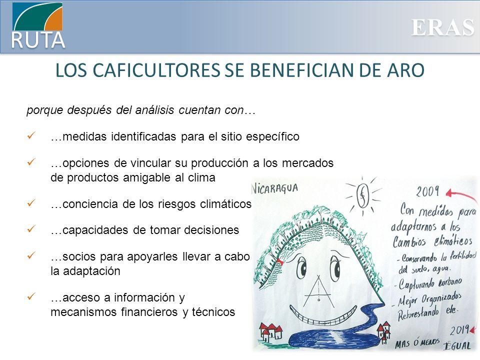 ERAS RUTA LOS CAFICULTORES SE BENEFICIAN DE ARO porque después del análisis cuentan con… …medidas identificadas para el sitio específico …opciones de