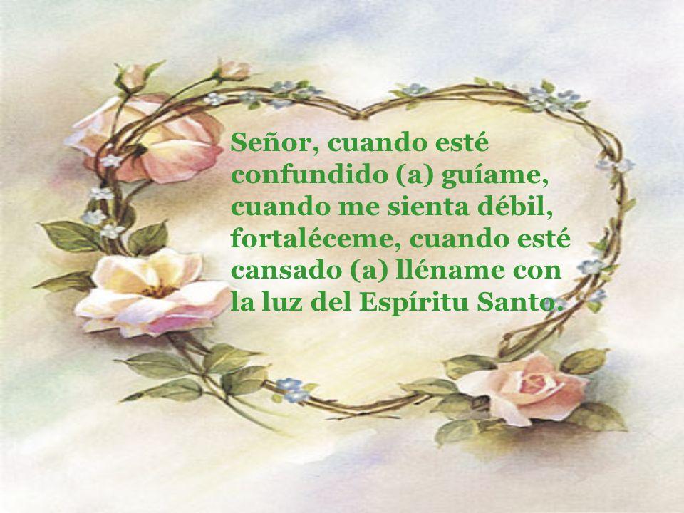Señor, cuando esté confundido (a) guíame, cuando me sienta débil, fortaléceme, cuando esté cansado (a) lléname con la luz del Espíritu Santo.