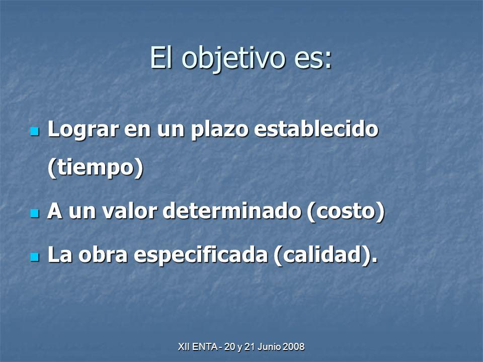 XII ENTA - 20 y 21 Junio 2008 El objetivo es: Lograr en un plazo establecido (tiempo) Lograr en un plazo establecido (tiempo) A un valor determinado (costo) A un valor determinado (costo) La obra especificada (calidad).