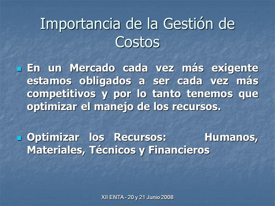 XII ENTA - 20 y 21 Junio 2008 Importancia de la Gestión de Costos En un Mercado cada vez más exigente estamos obligados a ser cada vez más competitivos y por lo tanto tenemos que optimizar el manejo de los recursos.