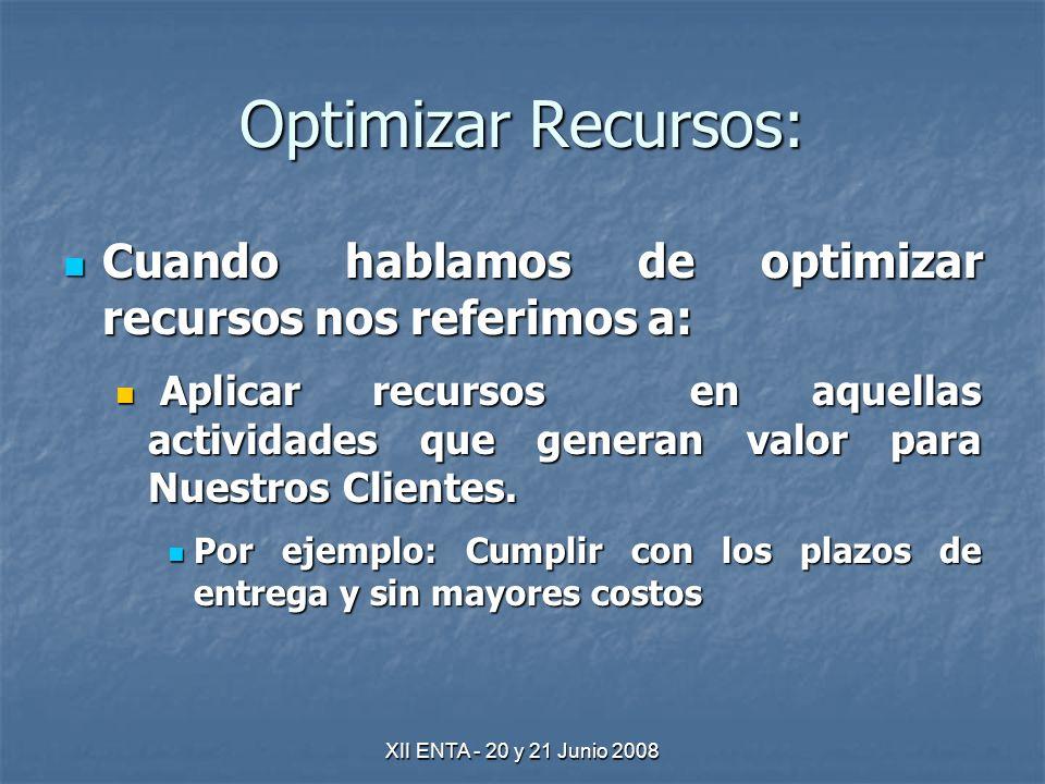XII ENTA - 20 y 21 Junio 2008 Optimizar Recursos: Cuando hablamos de optimizar recursos nos referimos a: Cuando hablamos de optimizar recursos nos referimos a: Aplicar recursos en aquellas actividades que generan valor para Nuestros Clientes.