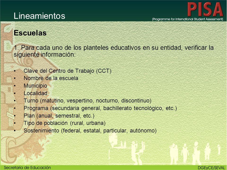 Escuelas 1. Para cada uno de los planteles educativos en su entidad, verificar la siguiente información: Clave del Centro de Trabajo (CCT) Nombre de l