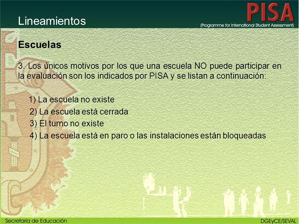 Lineamientos Escuelas 3. Los únicos motivos por los que una escuela NO puede participar en la evaluación son los indicados por PISA y se listan a cont