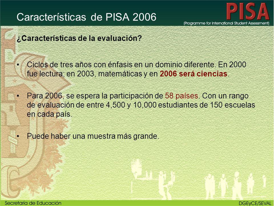 Características de PISA 2006 ¿Características de la evaluación? Ciclos de tres años con énfasis en un dominio diferente. En 2000 fue lectura; en 2003,