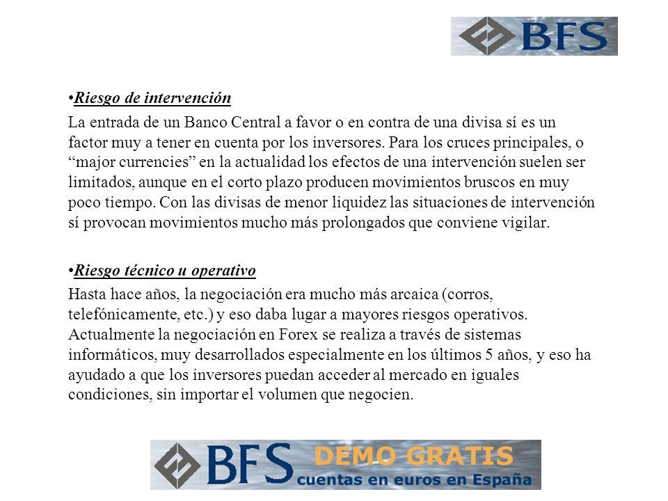 Riesgo de intervención La entrada de un Banco Central a favor o en contra de una divisa sí es un factor muy a tener en cuenta por los inversores.