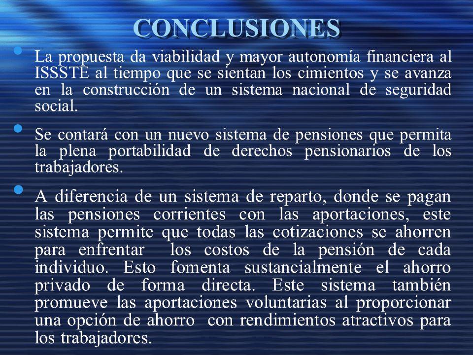 CONCLUSIONES La propuesta da viabilidad y mayor autonomía financiera al ISSSTE al tiempo que se sientan los cimientos y se avanza en la construcción de un sistema nacional de seguridad social.