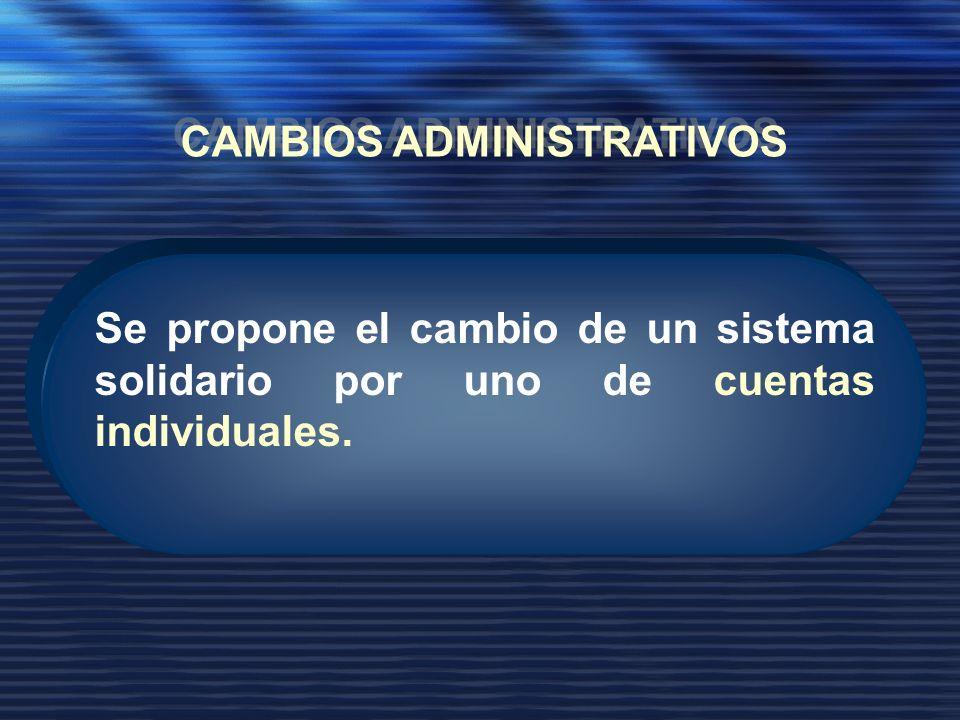 Se propone el cambio de un sistema solidario por uno de cuentas individuales.
