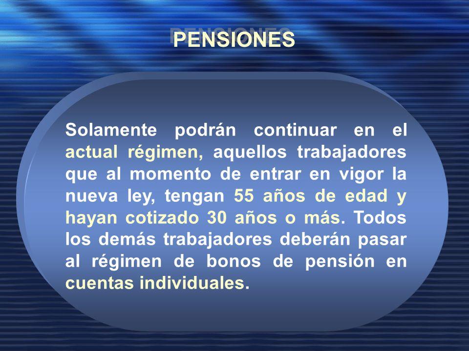 Solamente podrán continuar en el actual régimen, aquellos trabajadores que al momento de entrar en vigor la nueva ley, tengan 55 años de edad y hayan cotizado 30 años o más.