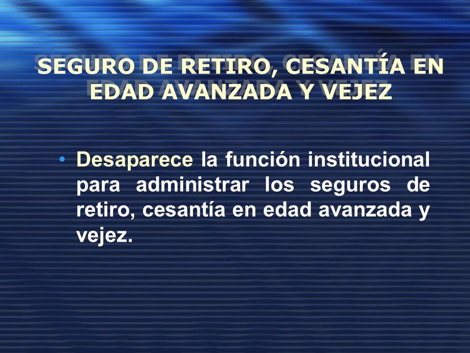 SEGURO DE RETIRO, CESANTÍA EN EDAD AVANZADA Y VEJEZ Desaparece la función institucional para administrar los seguros de retiro, cesantía en edad avanzada y vejez.