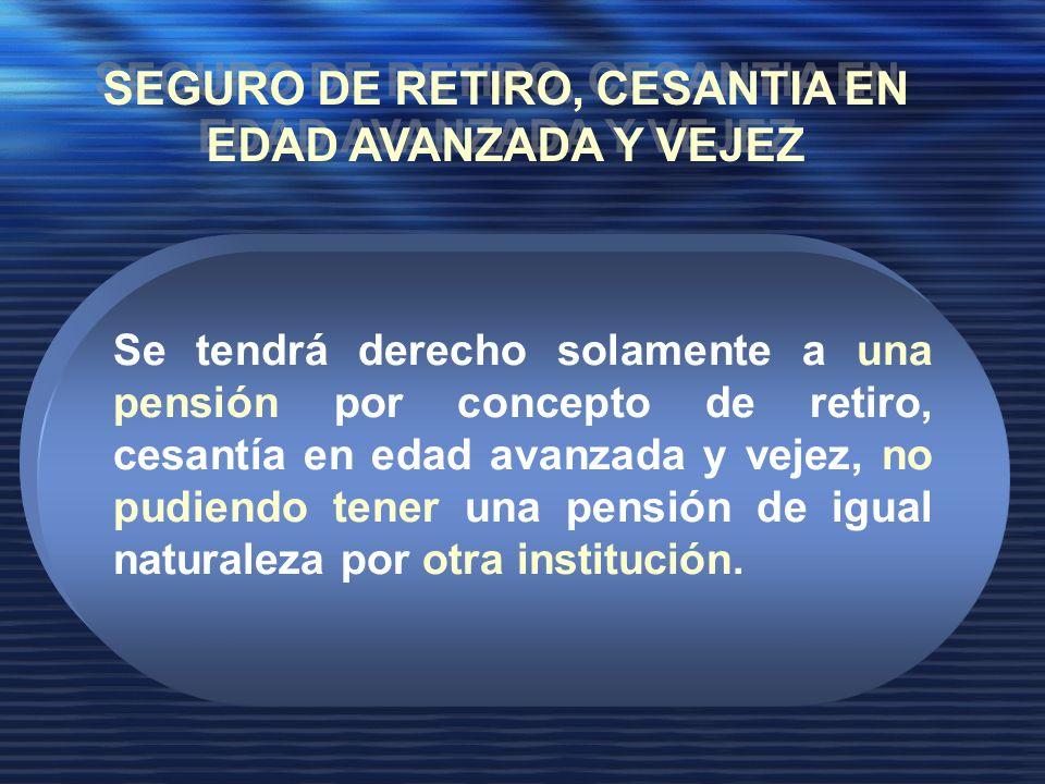 Se tendrá derecho solamente a una pensión por concepto de retiro, cesantía en edad avanzada y vejez, no pudiendo tener una pensión de igual naturaleza por otra institución.